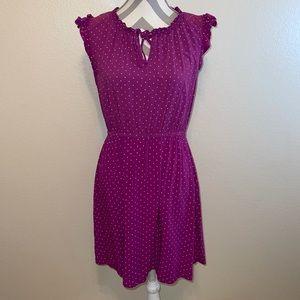 Old Navy Purple Polka Dot Ruffle Keyhole Dress Med